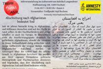 Flyer Abschiebung nach Afghanistan bedeutet Tod