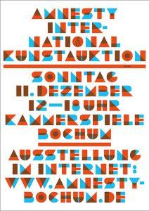 Plakat zur Kunstauktion 2016 von Amnesty International Bochum